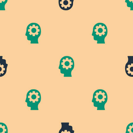 Green and black Human head with gear inside icon isolated seamless pattern on beige background. Artificial intelligence. Thinking brain. Symbol work of brain. Vector