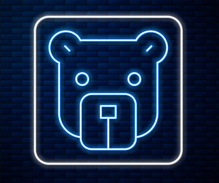 Glowing neon line Bear head icon isolated on brick wall background. Vector