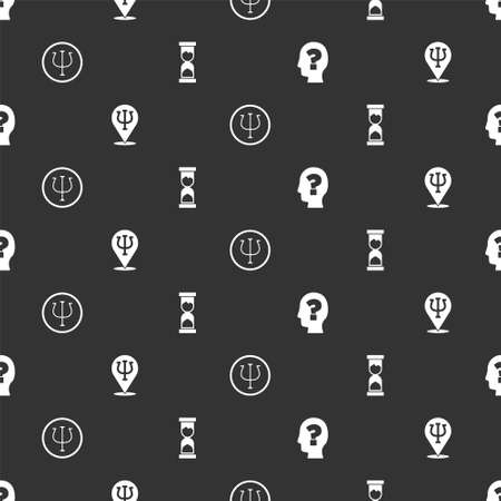 Set Head with question mark, Psychology, Psi, and Old hourglass on seamless pattern. Vector