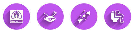 Set Lungs x-ray, Insomnia, Human broken bone and Constipation icon with long shadow. Vector