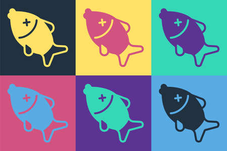 Pop art Dead fish icon isolated on color background. Vector