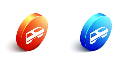 Isometric High-speed train icon isolated on white background. Railroad travel and railway tourism. Subway streamlined fast train transport. Orange and blue circle button. Vector