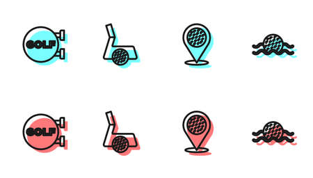 Set line Location golf sport club, Golf, with ball and in water icon. Vector