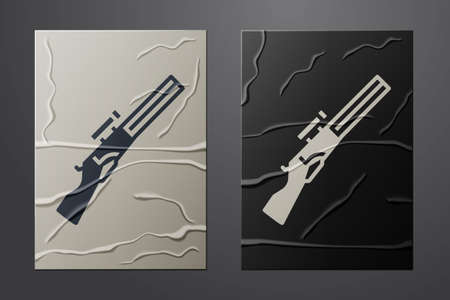 White Hunting gun icon isolated on crumpled paper background. Hunting shotgun. Paper art style. Vector