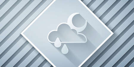 Paper cut Cloud with rain and moon icon isolated on grey background. Rain cloud precipitation with rain drops. Paper art style. Vector 向量圖像