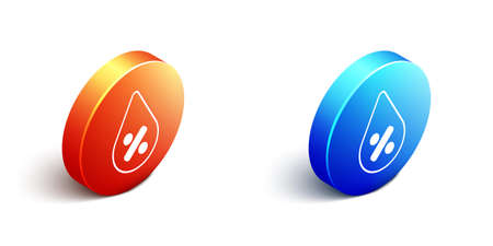 Isometric Water drop percentage icon isolated on white background. Humidity analysis. Orange and blue circle button. Vector