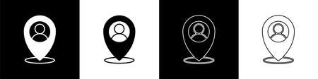 Set Map marker with a silhouette of a person icon isolated on black and white background. GPS location symbol. Vector