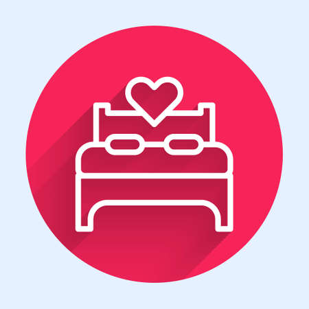 White line Bedroom icon isolated with long shadow. Wedding, love, marriage symbol. Bedroom creative icon from honeymoon collection. Red circle button. Vector