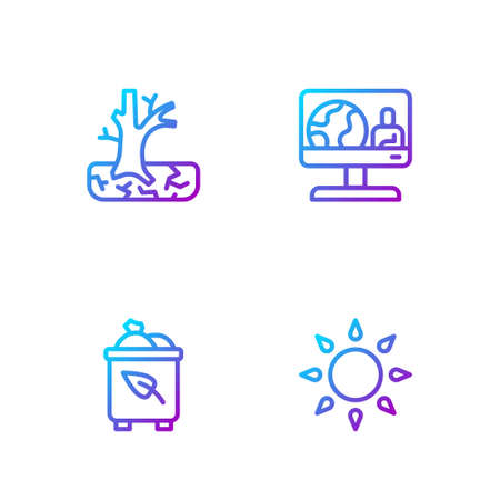 Set line Sun, Recycle bin with recycle, Withered tree and Weather forecast. Gradient color icons. Vector
