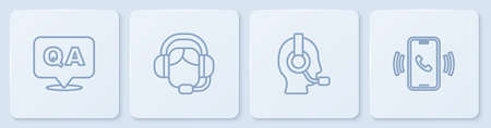 Set line Question and Answer, Man with headset, Woman and Telephone 24 hours support. White square button. Vector