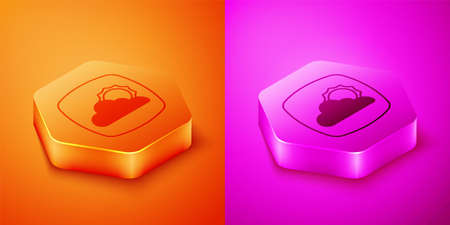 Isometric Weather forecast icon isolated on orange and pink background. Hexagon button. Vector