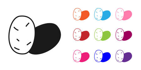 Black Potato icon isolated Black background. Set icons colorful. Vector