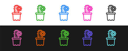Set line Cactus peyote in pot icon isolated on black and white background. Plant growing in a pot. Potted plant sign. Vector
