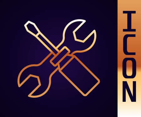 Gold line Screwdriver and wrench spanner tools icon isolated on black background. Service tool symbol. Vector