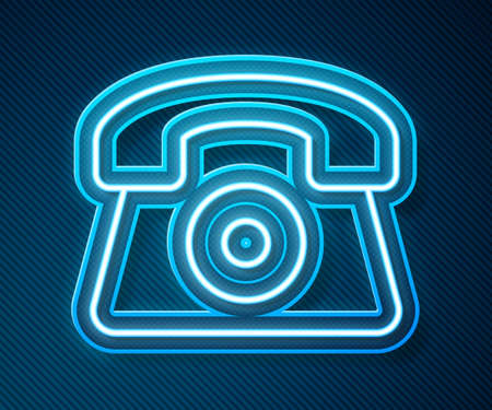 Glowing neon line Telephone 24 hours support icon isolated on blue background. All-day customer support call-center. Full time call services. Vector