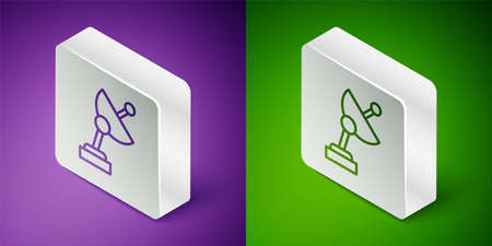 Isometric line Radar icon isolated on purple and green background. Search system. Satellite sign. Silver square button. Vector