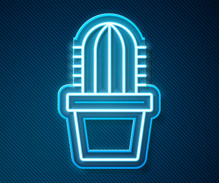 Glowing neon line Cactus peyote in pot icon isolated on blue background. Plant growing in a pot. Potted plant sign. Vector