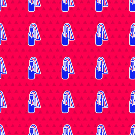 Blue Cocktail molotov icon isolated seamless pattern on red background. Vector