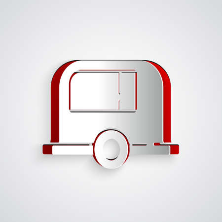 Paper cut Rv Camping trailer icon isolated on grey background. Travel mobile home, caravan, home camper for travel. Paper art style. Vector