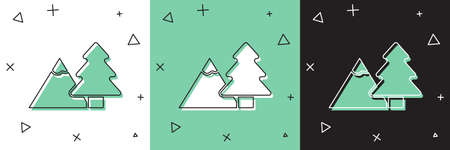Set Mountains with tree icon isolated on white and green, black background. Symbol of victory or success concept. Vector