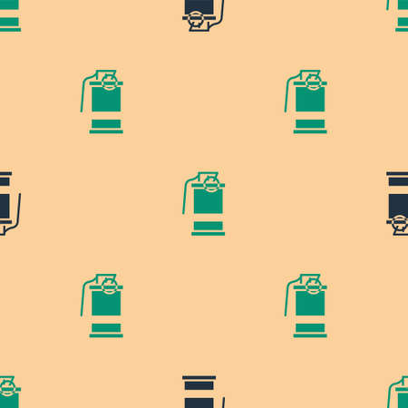 Green and black Hand smoke grenade icon isolated seamless pattern on beige background. Bomb explosion. Vector