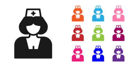 Black Nurse icon isolated on white background. Medicine and health care. Happy International Nurses day. Set icons colorful. Vector