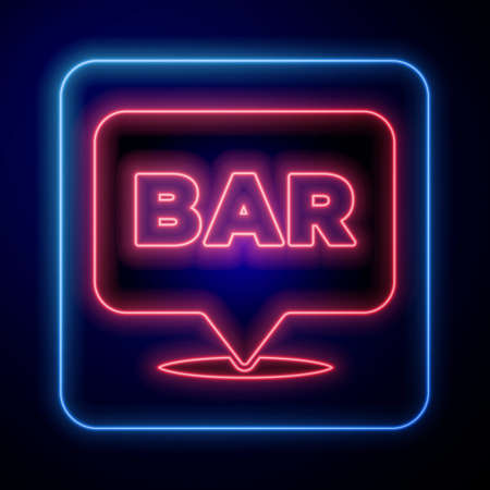 Glowing neon Alcohol or beer bar location icon isolated on blue background. Symbol of drinking, pub, club, bar. Vector Ilustração