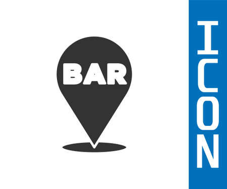 Grey Alcohol or beer bar location icon isolated on white background. Symbol of drinking, pub, club, bar. Vector