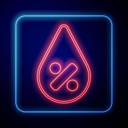 Glowing neon Water drop percentage icon isolated on black background. Humidity analysis. Vector