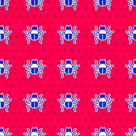 Blue Beetle bug icon isolated seamless pattern on red background. Vector Ilustração