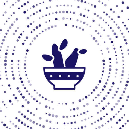 Blue Cactus peyote in pot icon isolated on white background. Plant growing in a pot. Potted plant sign. Abstract circle random dots. Vector