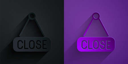 Paper cut Hanging sign with text Closed icon isolated on black on purple background. Business theme for cafe or restaurant. Paper art style. Vector