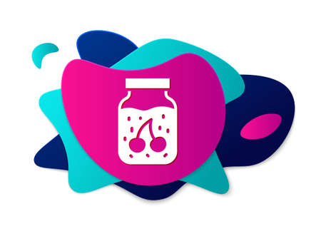 Color Jam jar icon isolated on white background. Abstract banner with liquid shapes. Vector