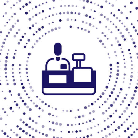 Blue Cashier at cash register supermarket icon isolated on white background. Shop assistant, cashier standing at checkout in supermarket uniform. Abstract circle random dots. Vector