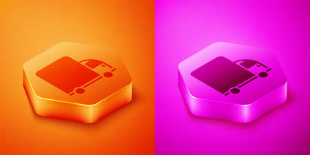Isometric Delivery cargo truck vehicle icon isolated on orange and pink background. Hexagon button. Vector