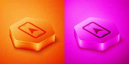 Isometric Infographic of city map navigation icon isolated on orange and pink background. Mobile App Interface concept design. Geolacation concept. Hexagon button. Vector
