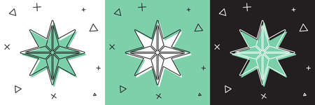 Set Wind rose icon isolated on white and green, black background. Compass icon for travel. Navigation design. Vector