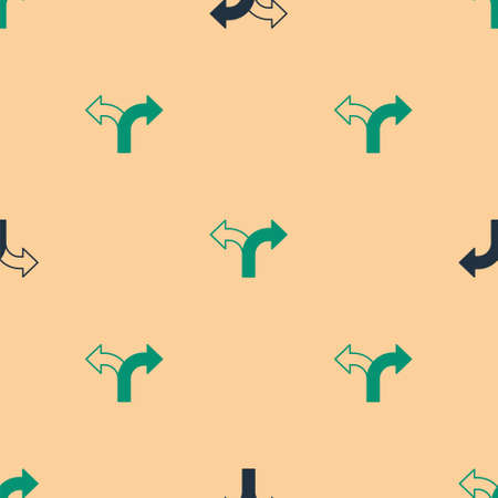 Green and black Road traffic sign. Signpost icon isolated seamless pattern on beige background. Pointer symbol. Isolated street information sign. Direction sign. Vector