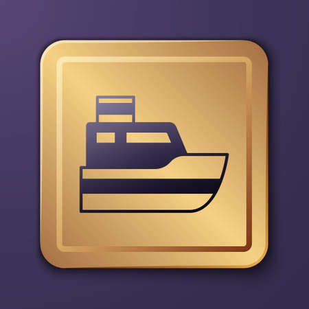 Purple Ship line path of ship sea route with start point GPS and black line icon isolated on purple background. Gold square button. Vector