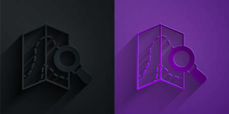 Paper cut Search location icon isolated on black on purple background. Magnifying glass with pointer sign. Paper art style. Vector