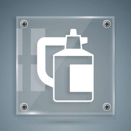 White Garden sprayer for water, fertilizer, chemicals icon isolated on grey background. Square glass panels. Vector Ilustração