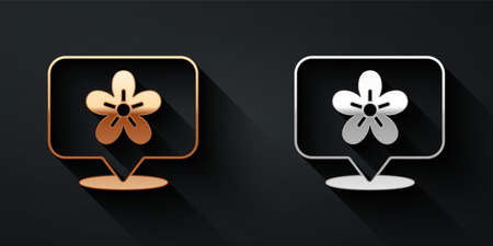 Gold and silver Location with flower icon isolated on black background. Long shadow style. Vector