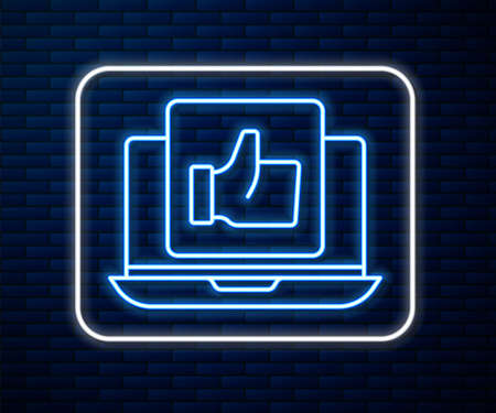 Glowing neon line Hand like icon isolated on brick wall background. Vector