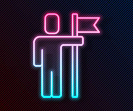Glowing neon line Leader of a team of executives icon isolated on black background. Vector