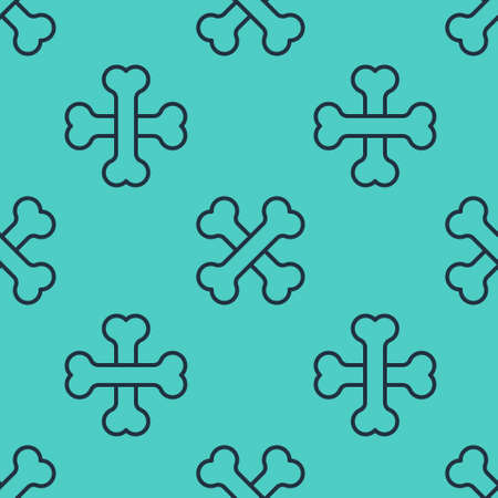 Black line Crossed human bones icon isolated seamless pattern on green background. Vector