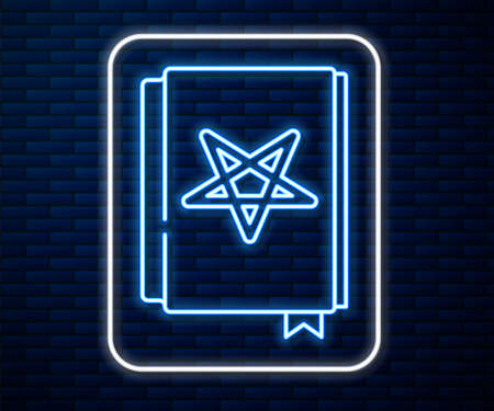 Glowing neon line Ancient magic book with alchemy recipes and mystic spells and enchantments icon isolated on brick wall background. Vector