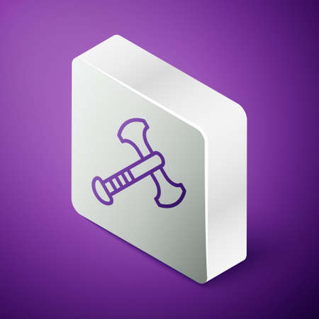 Isometric line War axe icon isolated on purple background. Battle axe, executioner axe. Medieval weapon. Silver square button. Vector Ilustração