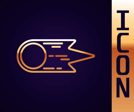 Gold line Comet falling down fast icon isolated on black background. Vector Ilustração