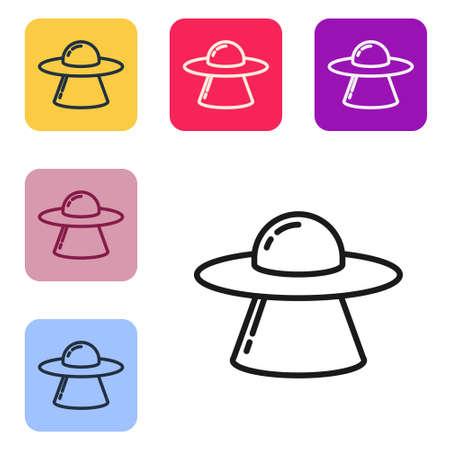 Black line UFO flying spaceship icon isolated on white background. Flying saucer. Alien space ship. Futuristic unknown flying object. Set icons in color square buttons. Vector