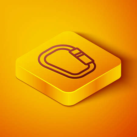 Isometric line Carabiner icon isolated on orange background. Extreme sport. Sport equipment. Yellow square button. Vector